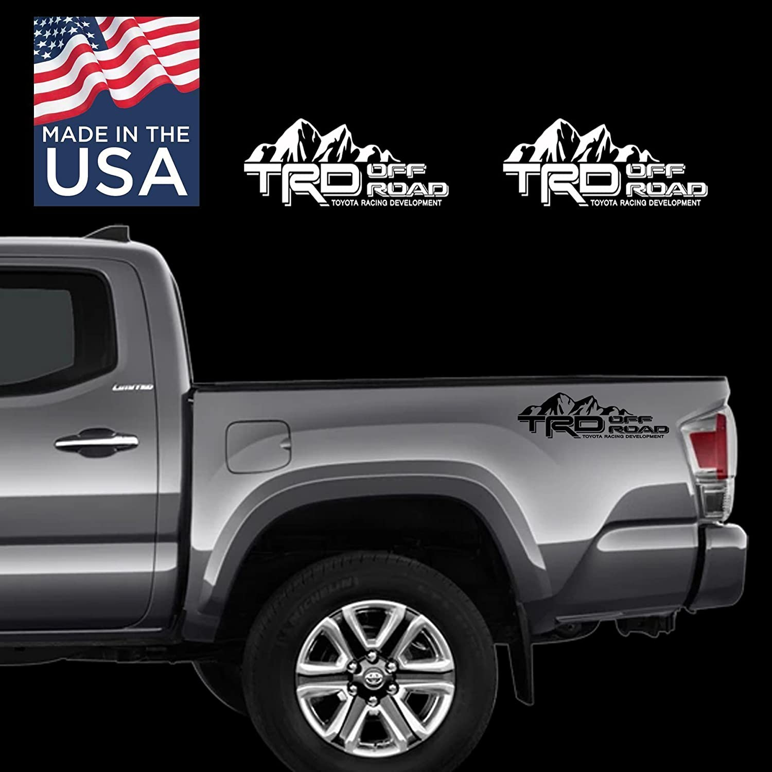 Toyota TRD SUV Car Truck Mountain Off-Road 4x4 Racing Tacoma Decal Vinyl Sticker PAIR