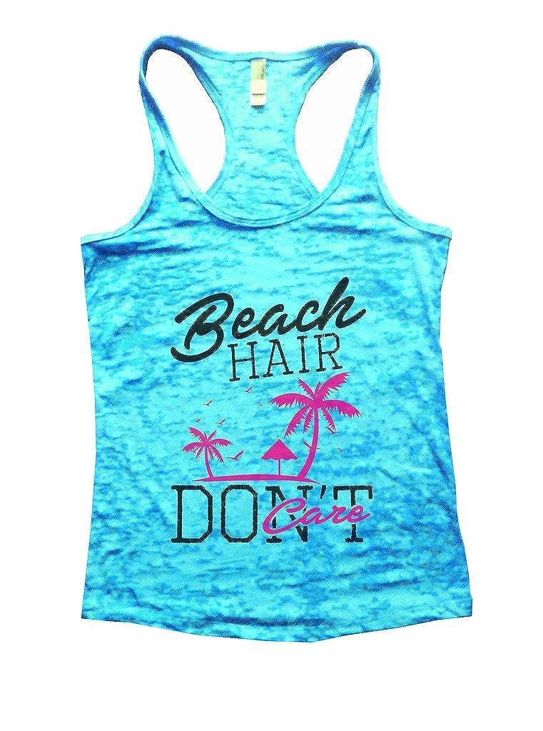 "Funny Threadz Women's Beach Summer Palm Tree Tank Top ""Beach Hair Don't Care"" Shirt"
