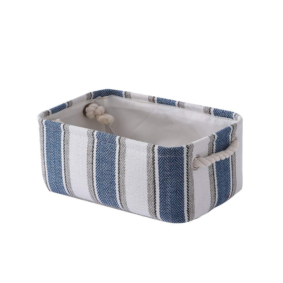 TheWarmHome Small Storage Basket Fabric Toy Basket Baby Storage Basket Dog Toy Basket Decorative Basket Cloth Storage Bin Empty Gift Basket for Book,Baby Toys Blue White Strip, 11.8L 7.9W 5.2H inch