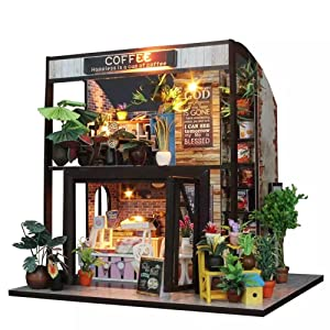 Flever Dollhouse Miniature DIY House Kit Creative Room with Furniture for Romantic Valentine's Gift(Time of Coffee)