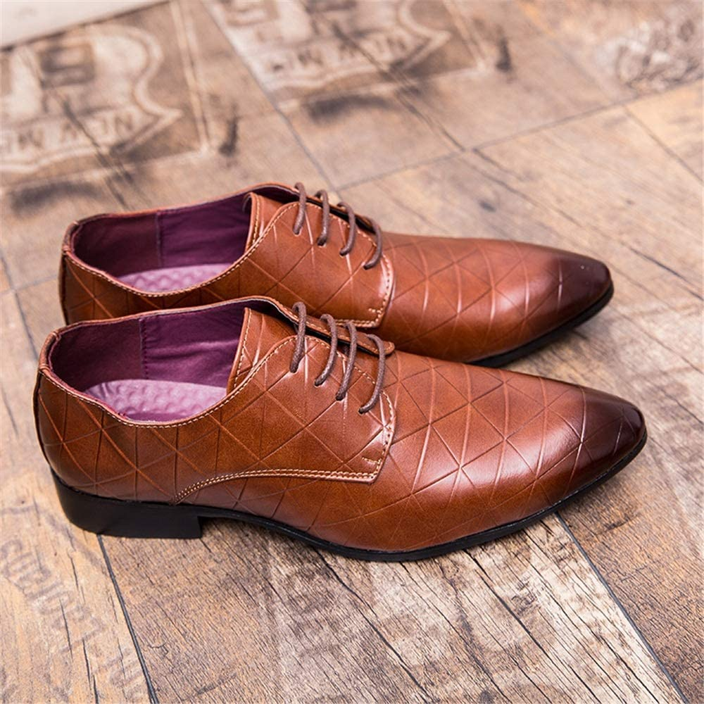 CHENDX Shoes Mens Casual Style Pointed Toe Business Oxford Personal Square Pattern Retro Color Formal Shoes