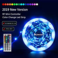 Kousee LED Strip Light Kit 16.4ft/5m Flexible Color Changing RF Remote Led Lights Strips 5050 RGB Rope Light with 44 Key Controller 12V2A Power Supply for Home & Kitchen and Christmas Decorative