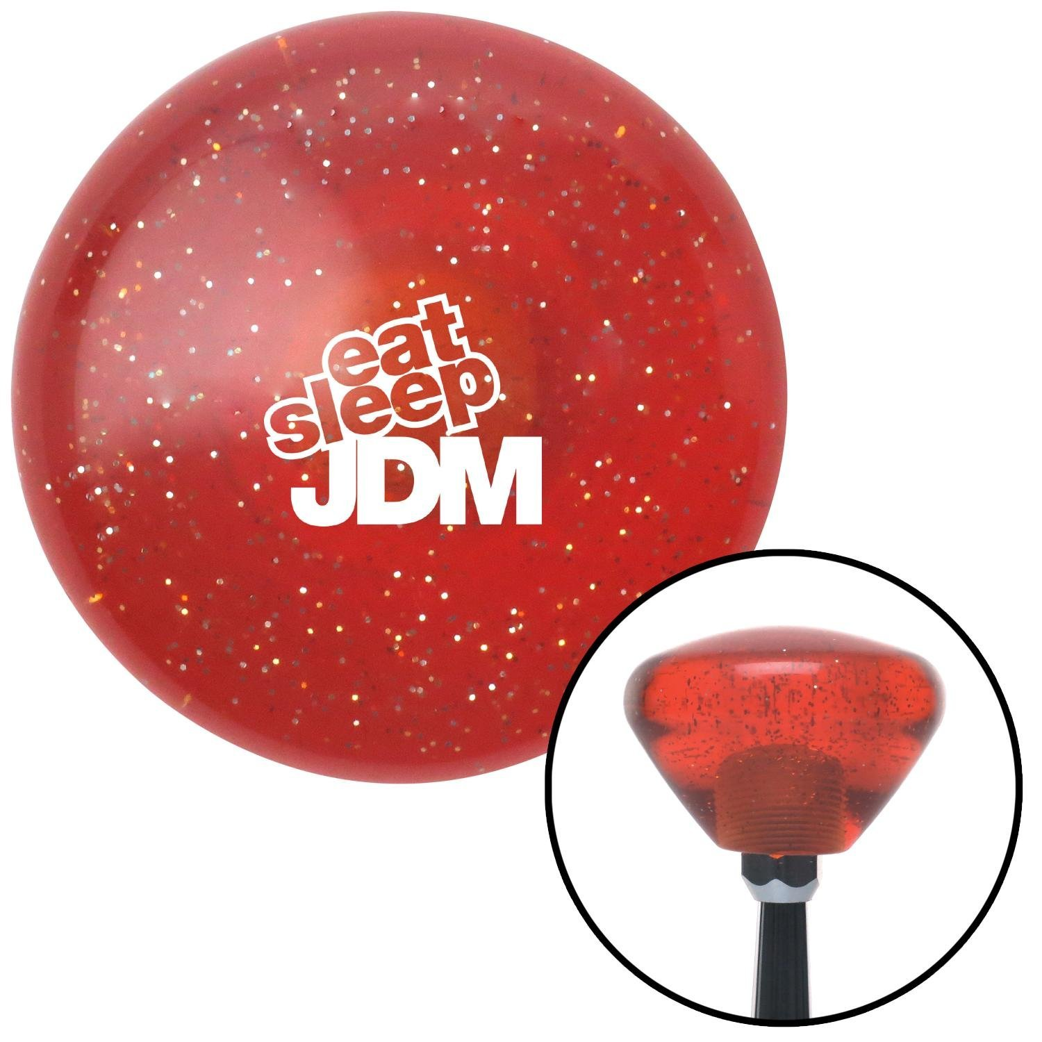 White Eat Sleep JDM Text Orange Retro Metal Flake with M16 x 1.5 Insert American Shifter 288619 Shift Knob