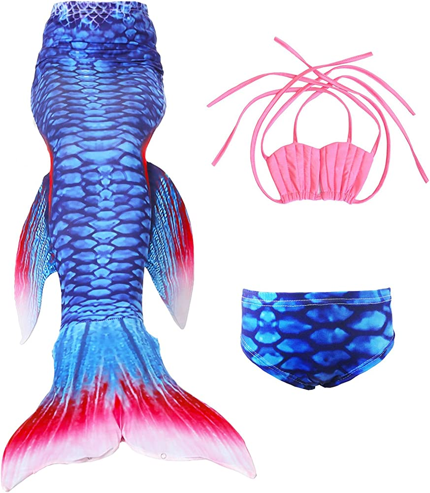 Le SSara Girls Shark Cosplay Costume Swimwear Mermaid Shell Swimsuit Sets
