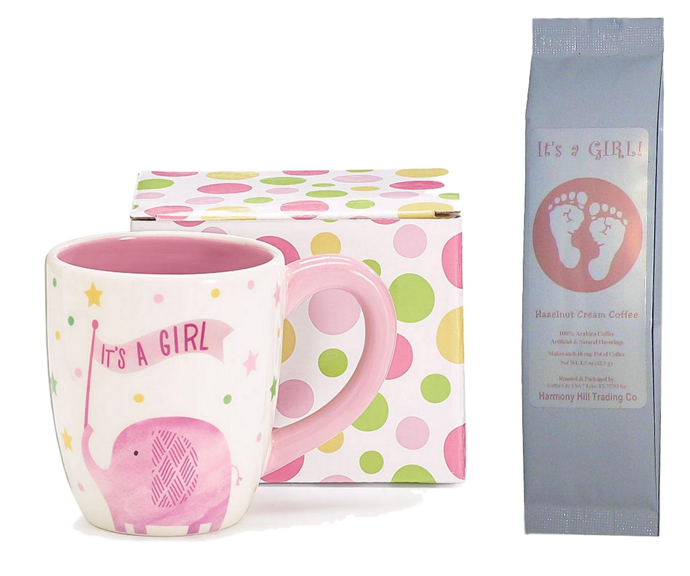 It's a Girl Coffee Mug and Coffee Gift Set - It's a Girl Polka Dots Stars Elephant Mug and It's a Girl Footprints Hazelnut Cream Coffee New Baby 2 Item Bundle