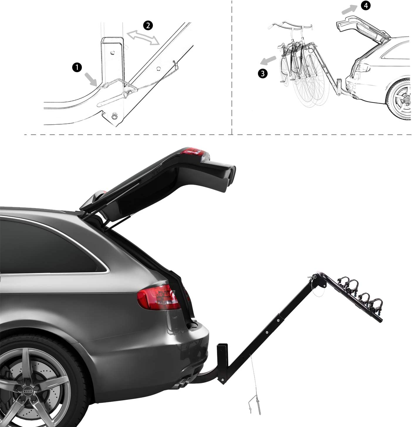 """XCAR 2-Bike Bicycle Hitch Mount Carrier Rack Fit for 2"""" Hitch Receiver"""
