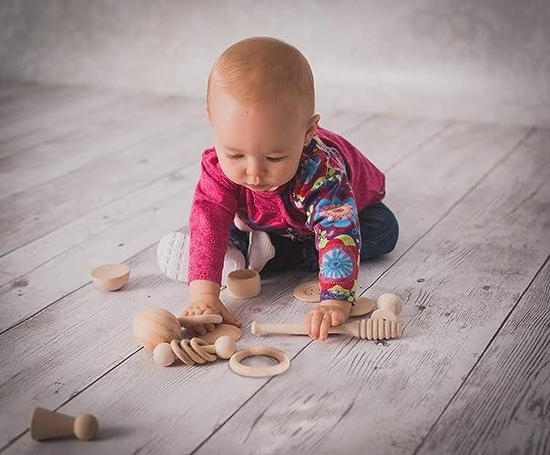 Cesto de los Tesoros Montessori, Panera dels Tresors. 14 piezas de madera 100 % natural, regalo para bebés