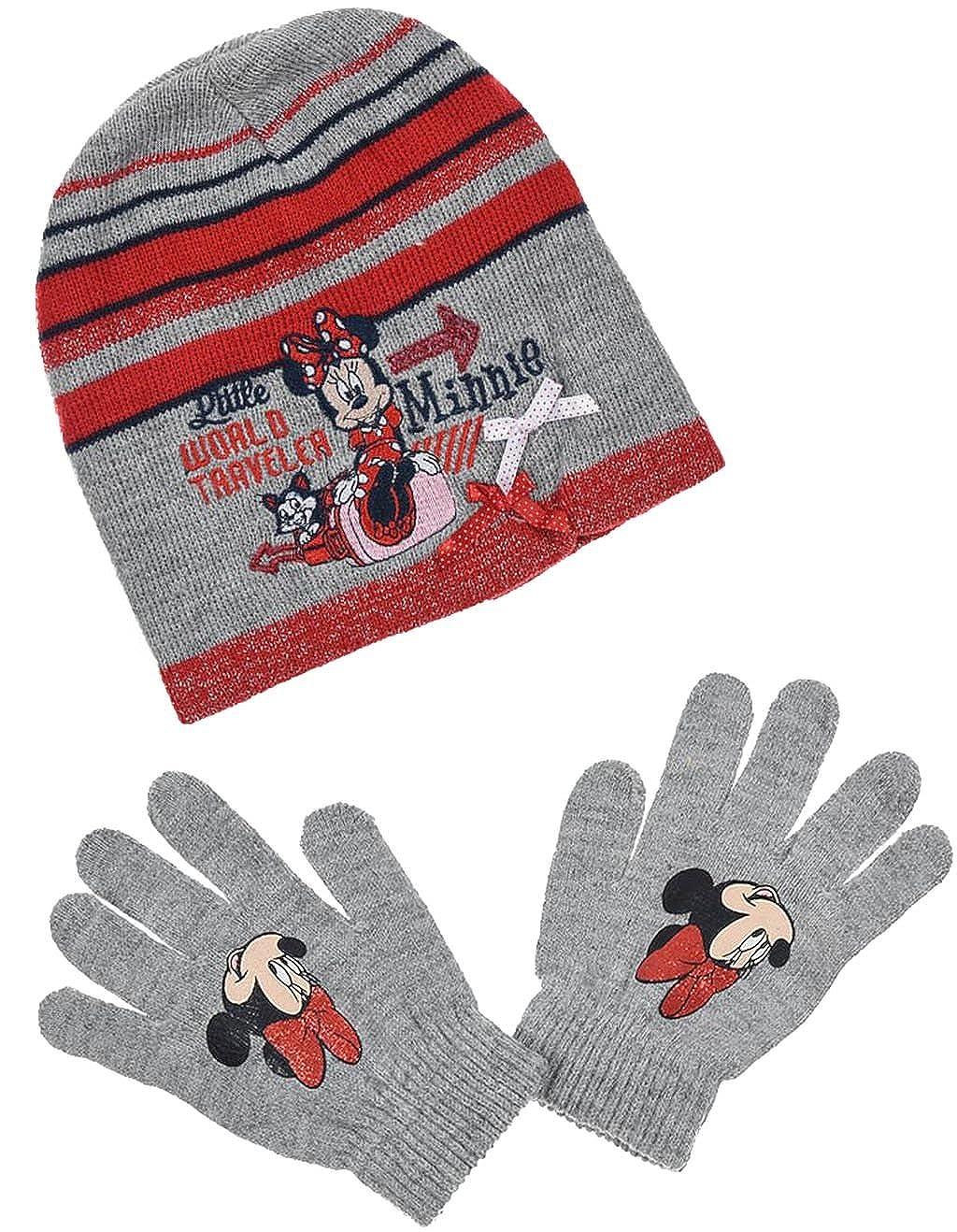 Ensemble Minnie Disney bonnet gants enfant fille gris 52cm