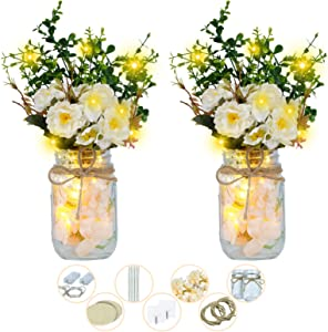 Shiny Flower 2 Set Rustic Wall Hanging Decor Mason Jar Decoration with White Peony LED Fairy Lights and Hydrangea, Farmhouse Sconces for Wall Table Office Decoration