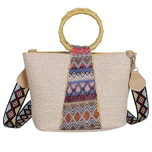 Makalon Damen Mode Stroh Tasche Handtasche Frauen Sommer