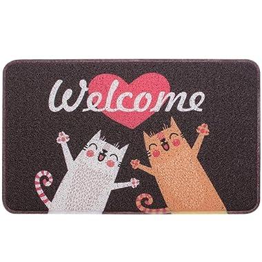 Pragovle Welcome Door Mat Outdoor Indoor Rugs, Funny Entrance Non Slip Doormat for Stairs, Bedroom and Bathroom (24'X36'(60cmX90cm), Funny Cat)