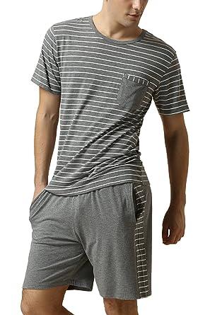 Dolamen Herren Schlafanzug Kurz , gemütlich Zweiteiliger Pyjamas in  Frühling Sommer, Streifen Baumwolle, Herren 3d74749748