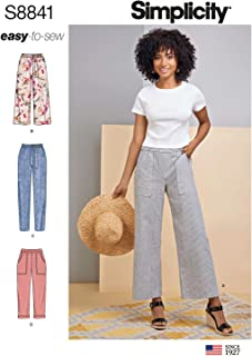 product image for Simplicity Pattern S8841 Misses' Wide or Slim Leg Pull-on Pants, R5 (14-16-18-20-22)