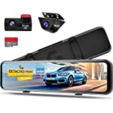PORMIDO 12 inch Mirror Dash Cam with Detached Front Camera,Anti Glare Touch Screen Full HD 1920P,Car Rear View Backup…