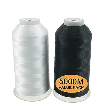 New brothread Conjunto de 2 (Blanco+Negro) Poliéster Bordado Máquina Hilo Grande carrete 5000M para todas las máquinas de bordado: Amazon.es: Hogar