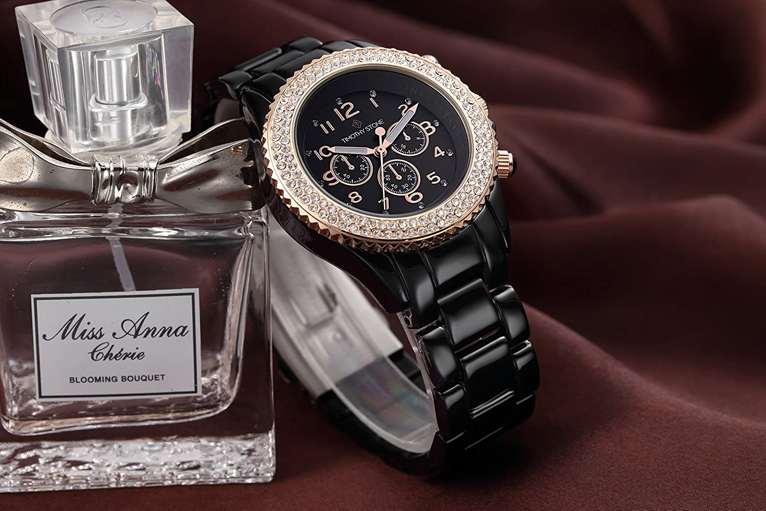 Amazon.com: Timothy Stone Womens AMBER-CERAMIC Black and Rose Gold-Tone Watch: Watches