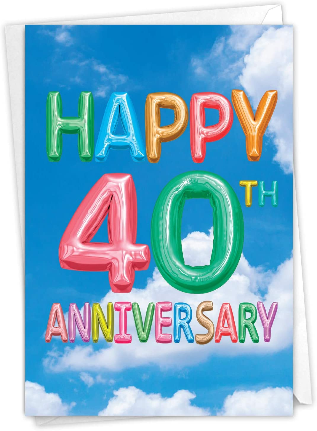 The Best Card Company - Happy 40th Anniversary Greeting Card - Congrats on 40 Years of Marriage, Celebration Notecard with Envelope (Not 3D or Raised) - Inflated Messages 40 C5651FMAG