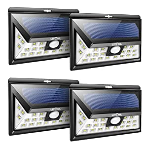 LITOM Original Solar Lights Outdoor, 3 Optional Modes Wireless Motion Sensor Light with 270° Wide Angle, IP65 Waterproof, Easy-to-Install Security Lights for Front Door, Yard, Garage, Deck-4 Pack
