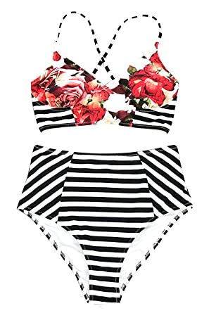 683a26ea52d CUPSHE Women's Floral Stripe Bathing Suit Lace Lined Two Piece Swimwear (X- Small (