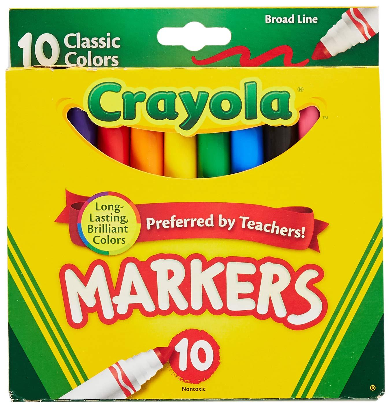 Crayola 758114552570 Marcadores de líneas anchas, colores clásicos 10 cada uno (paquete de 24), caja de 24 unidades, recuento