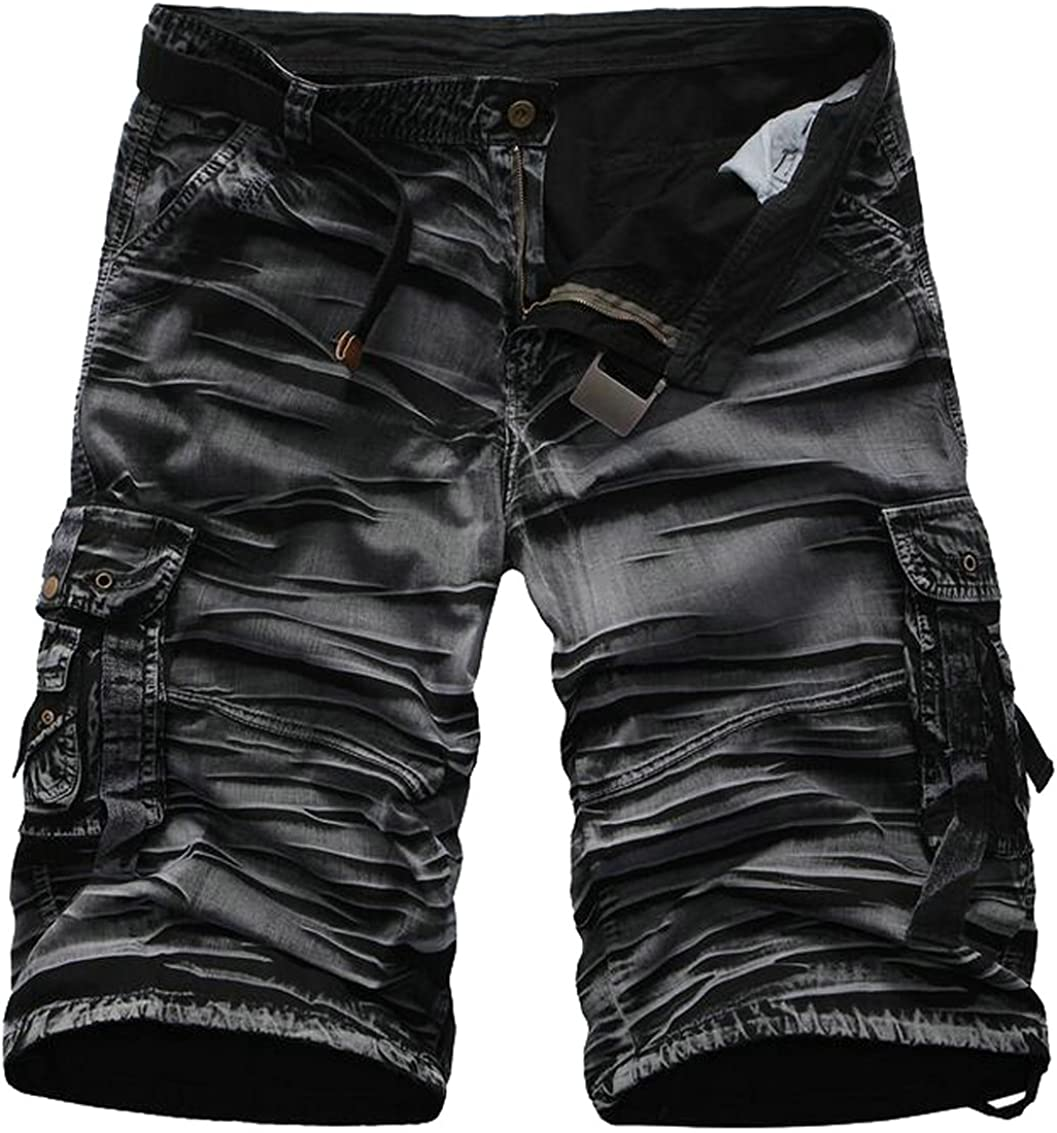 SYTX Mens Cotton Multi Pockets Loose Rugged Cargo Shorts Outwear
