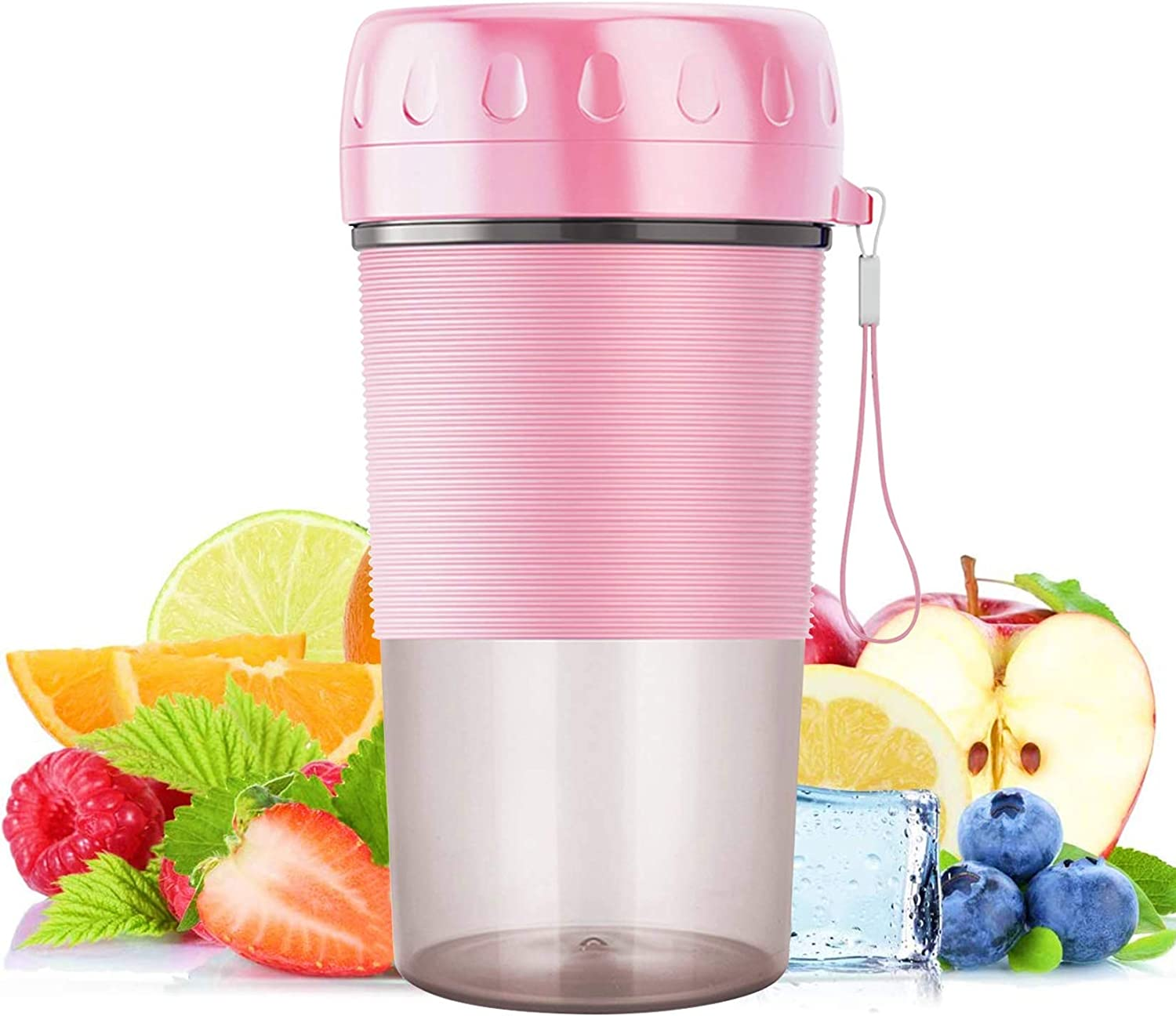 Portable Blender,Terunat Mini Personal Blender for Shakes and Smoothies,Juicer Cup Mixer,Smoothies Maker Fruit Blender Cup,USB Rechargeable, 10oz/300ml ,for Gym,Travel,Home,Outdoors,Office (Pink)