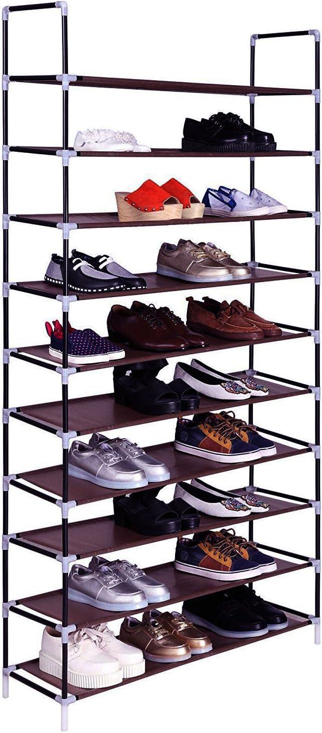 Black Acedas 10 Tiers Shoe Rack 50 Pairs Non-Woven Fabric Shoe Storage Organizer Cabinet Tower
