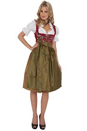 Dirndl Womens 3 Piece With Floral Embroidery 32 Red