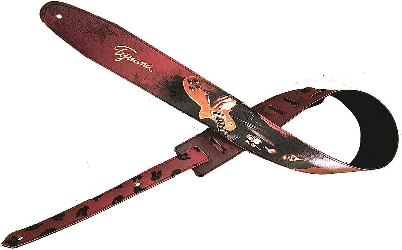 Slash Correa para guitarra, correa para bajo, tamaño ajustable, cinturón reciclado de cuero ecológico, unisex