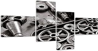Feeby Frames, Tableau multi panneau 4 parties, Tableau imprimé xxl, Tableau imprimé sur toile, Tableau deco, Type Z, 100x50 cm, ENGRENAGES, OUTILS, AUTOMOBILE, MÉTAL, GRIS