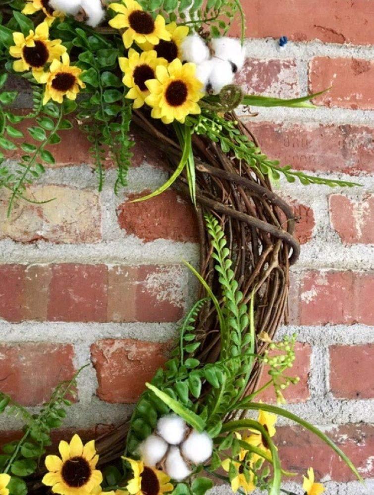 Sunflowers cotton and buffalo plaid wreath; summer farmhouse wreath; farmhouse decor; cottonboll wreath; mantle decor; buffalo plaid decor