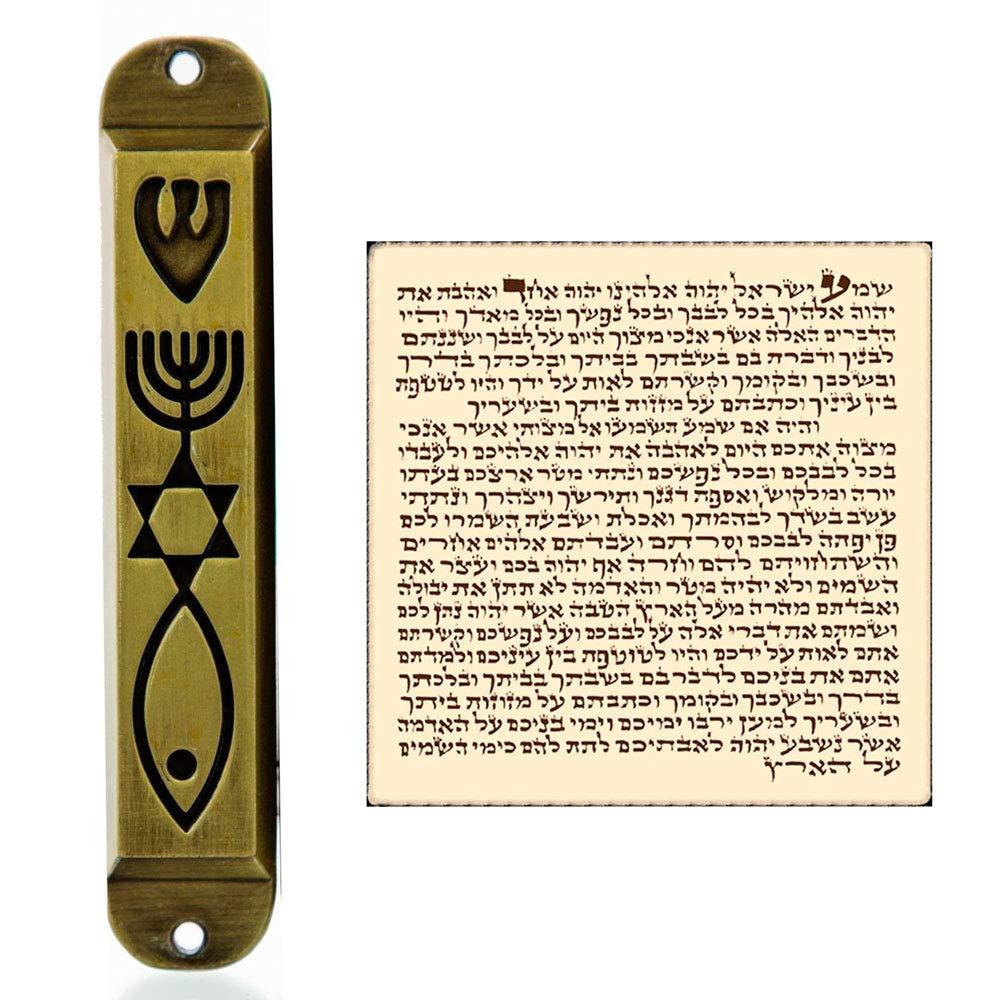 Talisman4U Brass Messianic Mezuzah Case with Scroll for Door Menorah Messianic Seal 10 cm / 4 Inch
