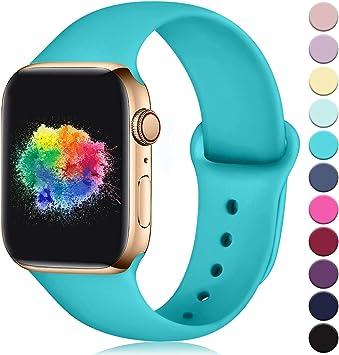 Imagen deYoumaofa Correa Compatible con Apple Watch 38mm 40mm, Correa de Silicona Repuesto Pulsera Deportivas para iWatch Series 5 Series 4 Series 3 Series 2 Series 1, 38mm/40mm S/M Verde Azulado