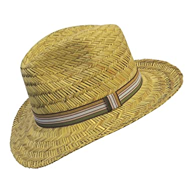 ee83dc00 .boutique Retro 1940s 50s Mens Straw Fedora Style Summer Hat with Striped  Outer Band: Boutique Brand: Amazon.co.uk: Clothing