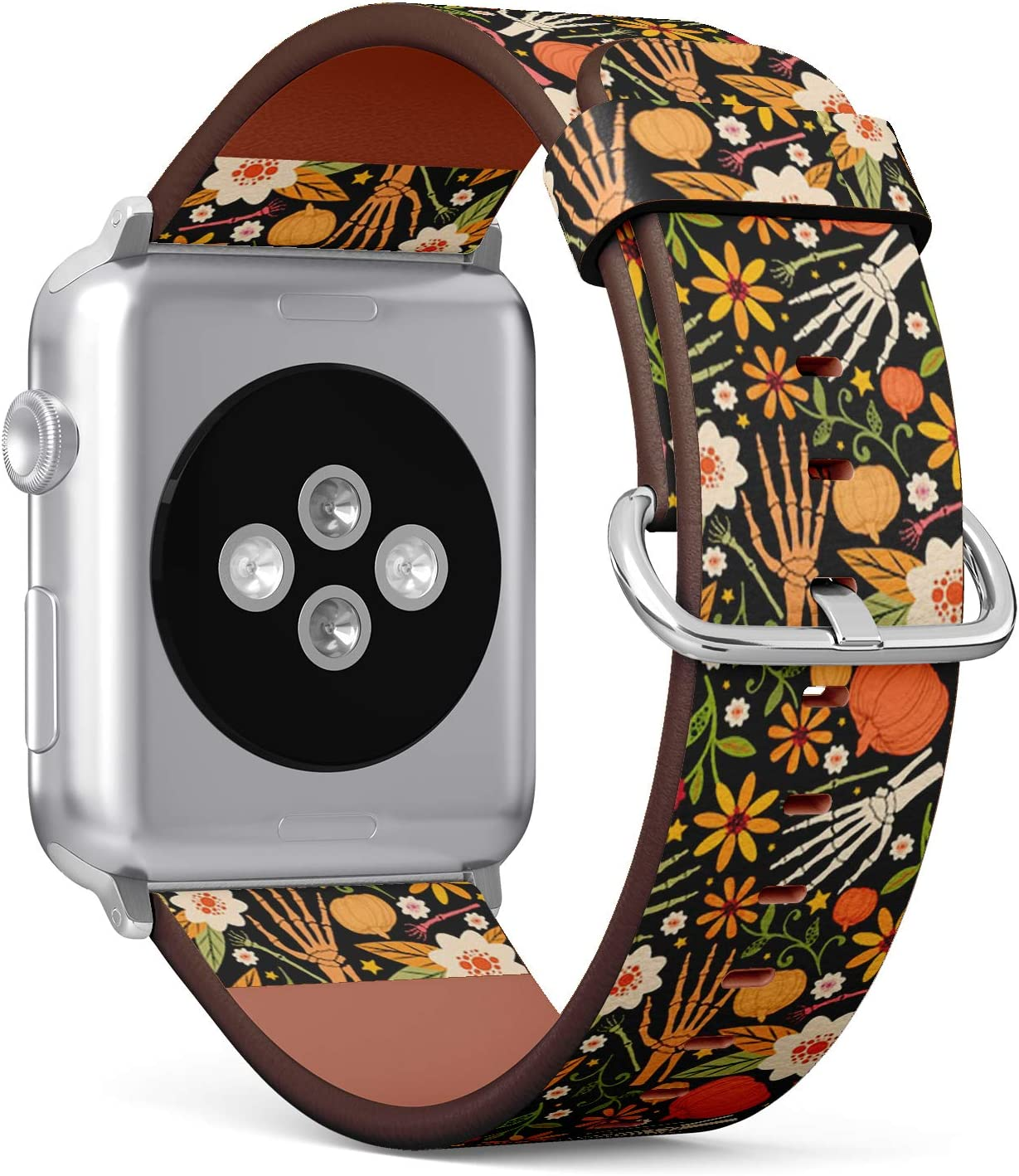 Compatible with Small Apple Watch 38mm & 40mm - (Series 5, 4, 3, 2, 1) Leather Watch Wrist Band Strap Bracelet with Stainless Steel Clasp and Adapters (Halloween Bones Floral)