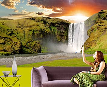 Sunrise And Waterfall 3d Wallpaper Available In All Size For Living Room Bed Rooms Tv Background Size 5 X Width 7 Ft Size Height 5 X Width 7 Ft Amazon In Home Improvement