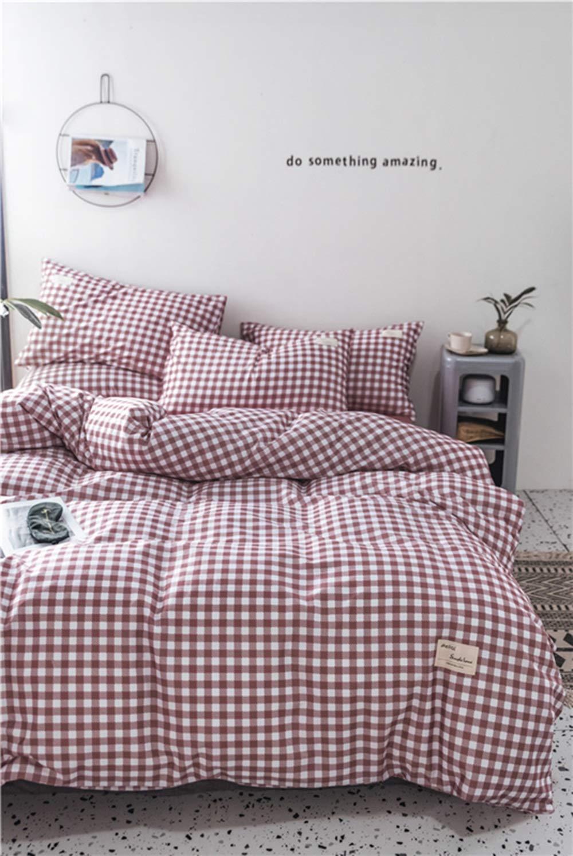 CSYP 2019春と夏の綿4ピース綿のシンプルな寝具シーツ掛け布団カバー (Color : Purple) B07Q6C4M8D