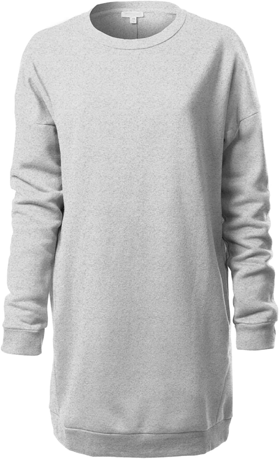 Grey Loose Tunic with Long Sleeves Open Back Autumn Casual Top