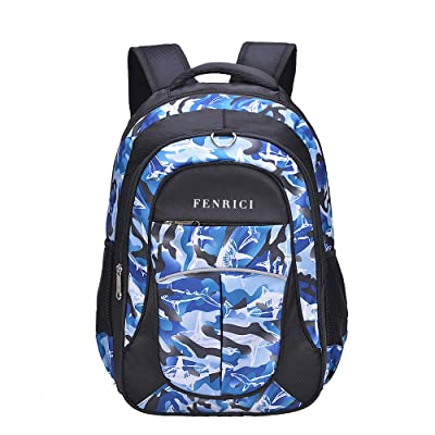 Shark Backpack for Boys, Girls, Kids by Fenrici, 18 inch Durable Book Bags for Kindergarten, Elementary School Students, Backpack with a Mission (BRAVERY, M) | Kids' Backpacks
