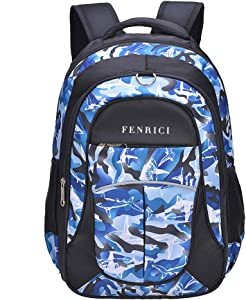 Shark Backpack for Boys, Girls, Kids by Fenrici, 18 inch Durable Book Bags for Kindergarten, Elementary School Students, Backpack with a Mission (BRAVERY, M)