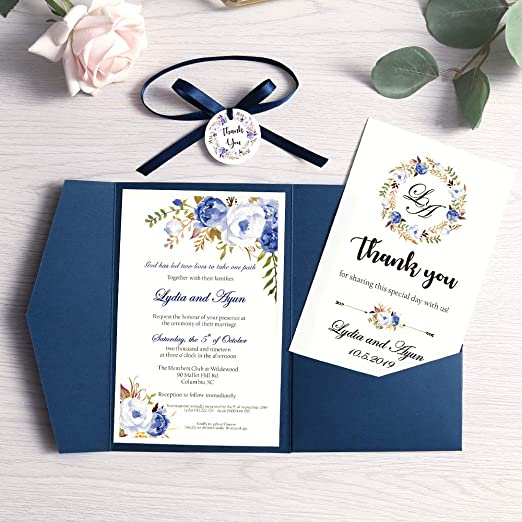 Dream Planner 50pcs Tri Fold Wedding Invitations For Bridal Shower