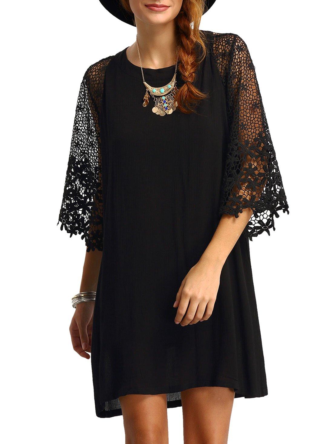 MakeMeChic Women's Casual Crewneck Half Sleeve Summer Chiffon Tunic Dress Black M