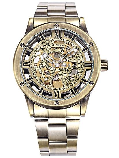 Alienwork Retro Reloj Mecánico Automático Relojes Automáticos Hombre Mujer Acero Inoxidable Bronce marrón Analógicos Unisex Impermeable: Amazon.es: Relojes