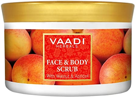 VAADI HERBALS Face And Body Scrub With Walnut And Apricot Herbal Cream Remove Dry Dead Skin Cells Blackheads 500 Gm 17.64 Oz