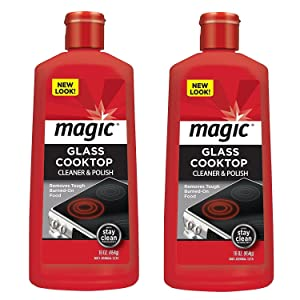 Magic Ceramic & Glass Cooktop Cleaner - 16 Ounce - 2 Pack - Professional Home Kitchen Cooktop Cleaner and Polish Use On Induction Ceramic Gas Portable Electric
