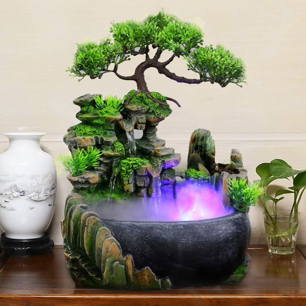 Fuente de Escritorio del Agua con el Cambio de Color de iluminaci/ón LED Fuente de Agua de Interior Fuente Cascada