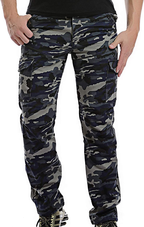 AOYOG Thicken Mens Winter Fleece Lined Cargo Pant Windproof Outdoor Work Pants