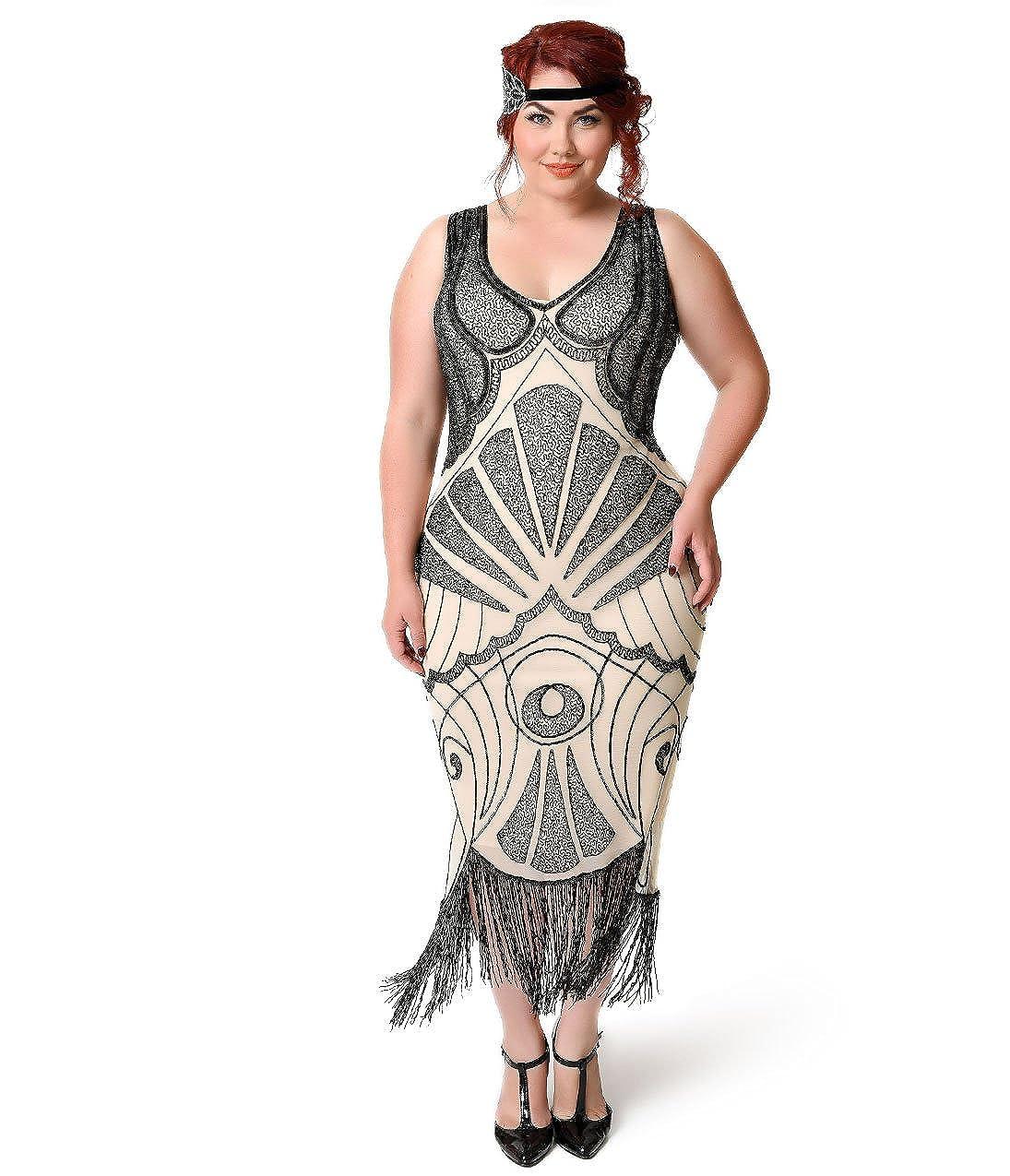 f97cfb997ad Unique Vintage Plus Size Ivory   Black Beaded Vienna Mesh Fringe Flapper  Dress at Amazon Women s Clothing store