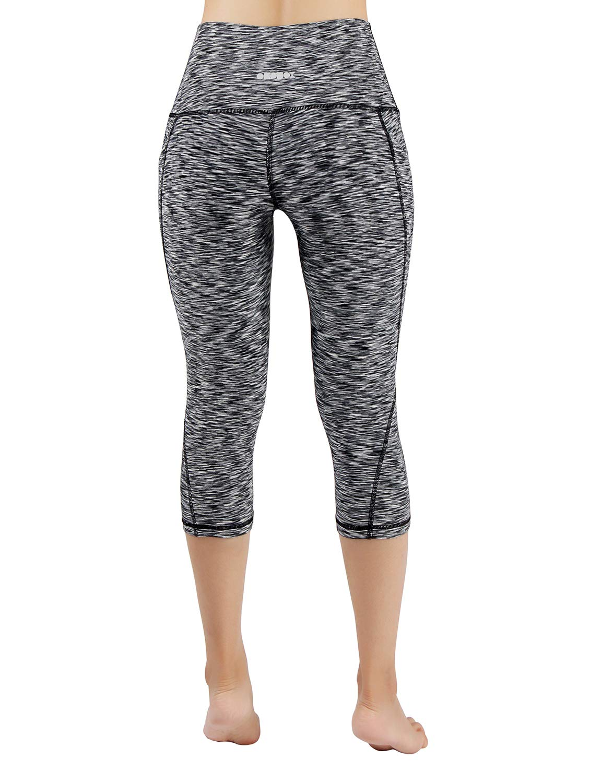 ODODOS High Waist Out Pocket Yoga Capris Pants Tummy Control Workout Running 4 Way Stretch Yoga Leggings,SpaceDyeBlack,X-Small by ODODOS (Image #3)