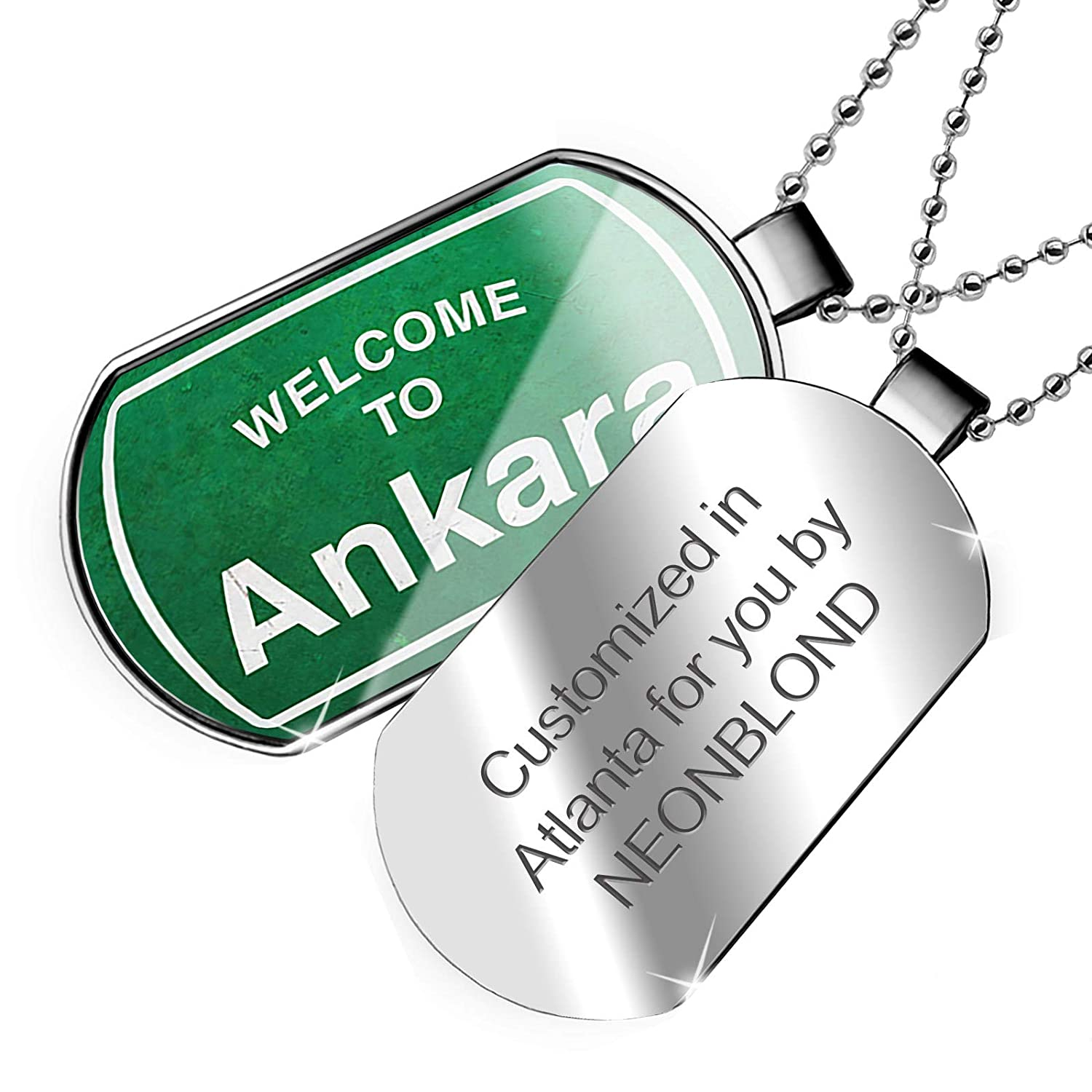 NEONBLOND Personalized Name Engraved Green Road Sign Welcome to Ankara Dogtag Necklace